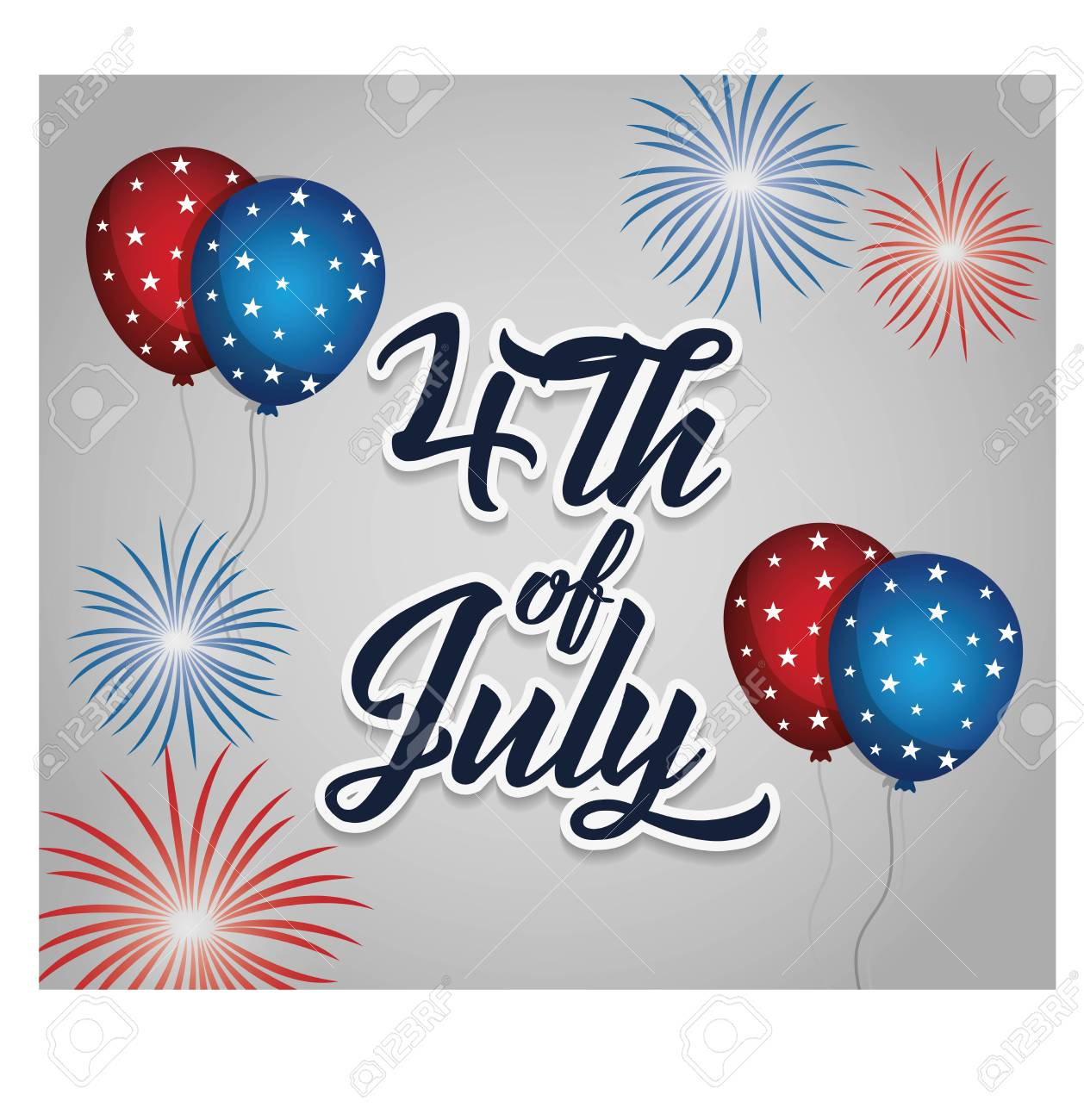 date of usa independence day card with decorative balloons and fireworks burst over gray background