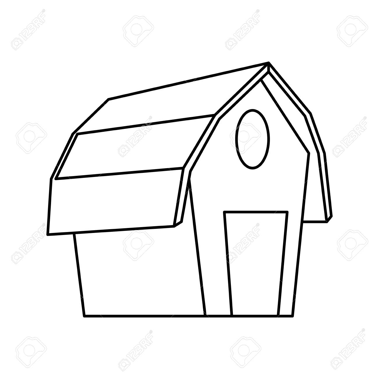 Farm Barn Building Icon Vector Illustration Graphic Design Stock