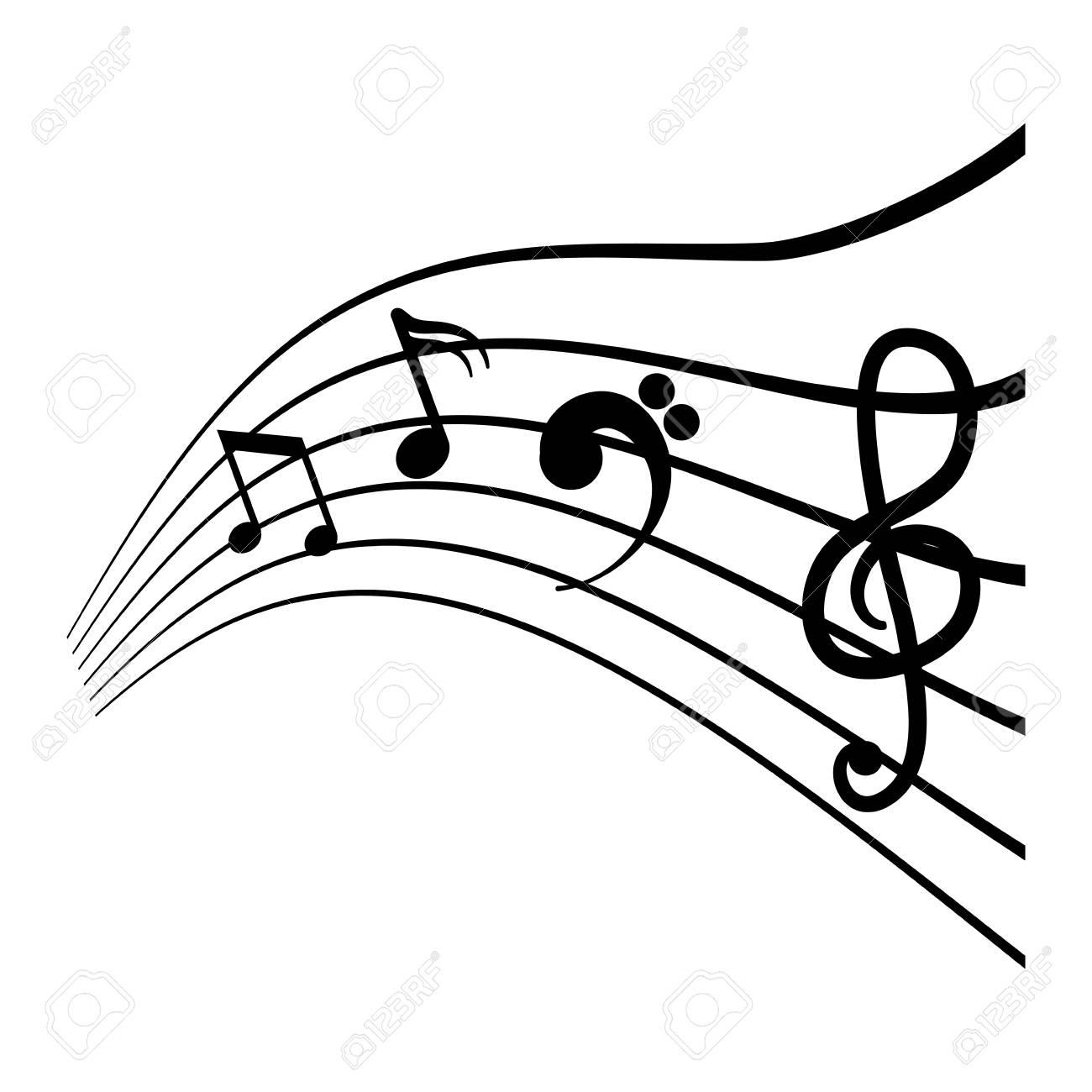 Pentagrama Con El Icono De Notas Musicales Sobre Fondo Blanco