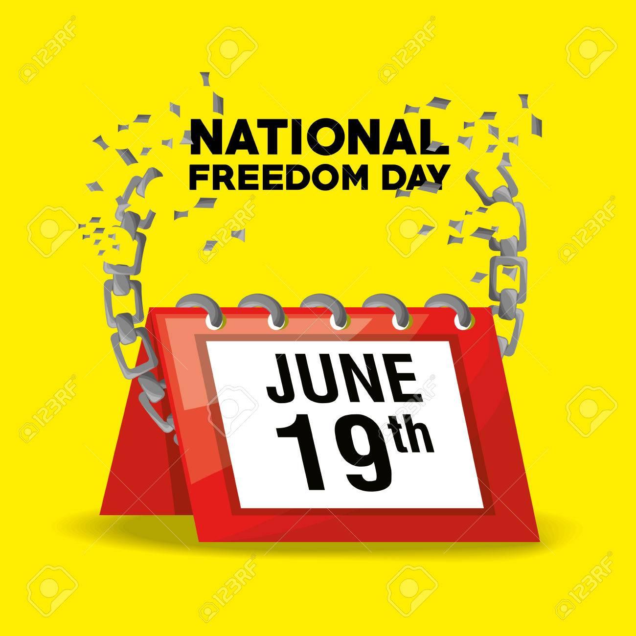 Nazionale Calendario.Giorno Di Liberta Nazionale Con Calendario E Catena Illustrazione Vettoriale