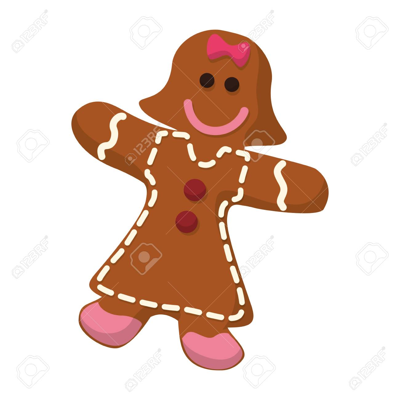 Gingerbread Girl Cookie Vector Icon Illustration Graphic Design