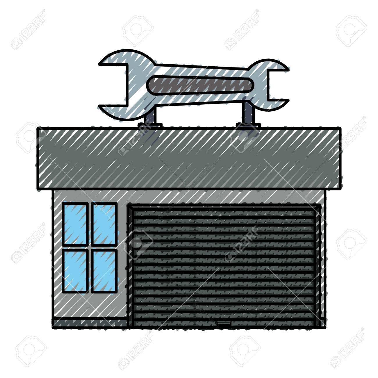 Garage Door Mechanic Icon Vector Illustration Graphic Design Royalty