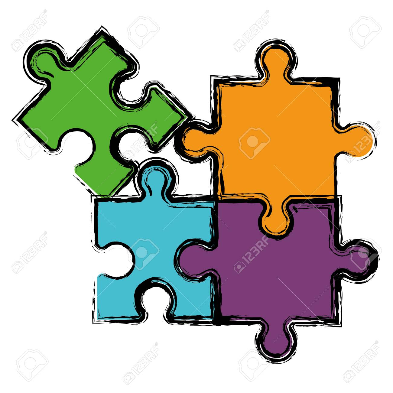 Jigsaw Puzzles Icon Over White Background Colorful Design Vector Illustration Stock