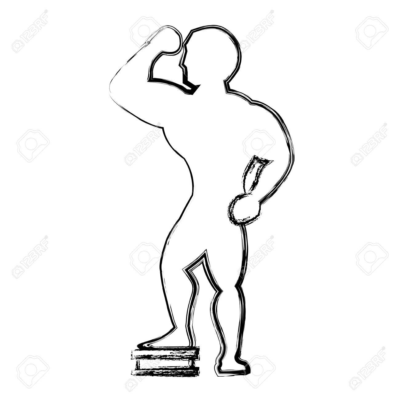 Culturismo Hombre Silueta Icono Ilustración Vectorial Diseño Gráfico ...