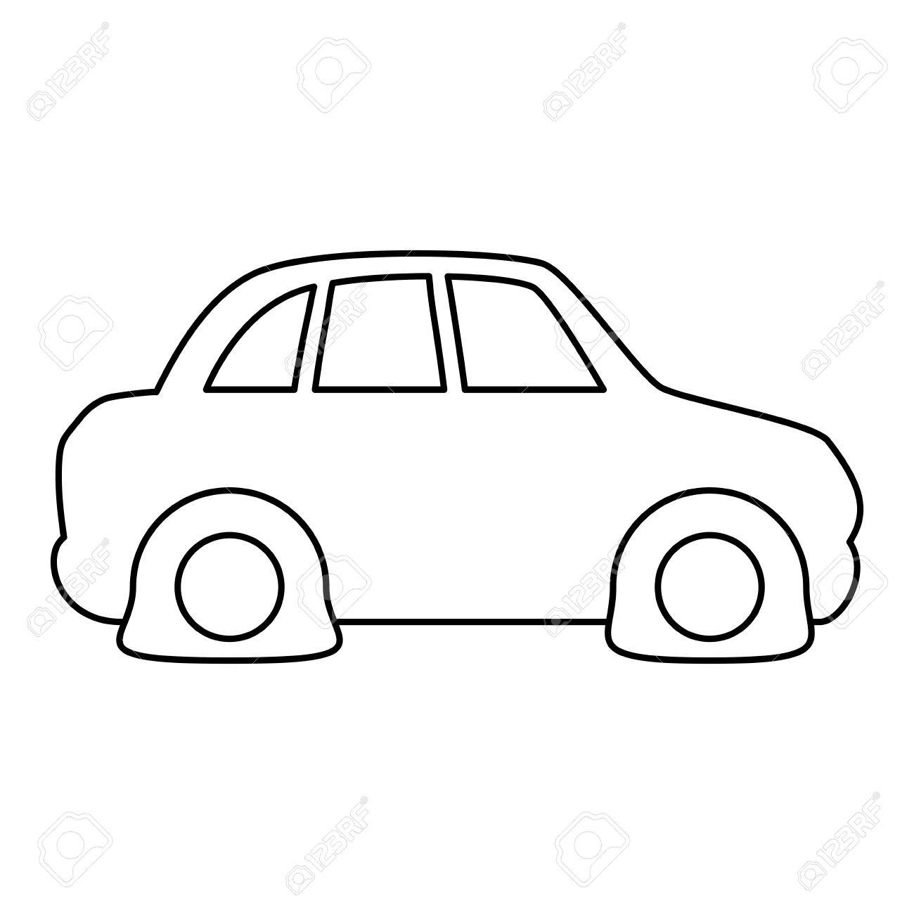 Line Flat Tire Car To Drive And Travel Vector Illustration Royalty