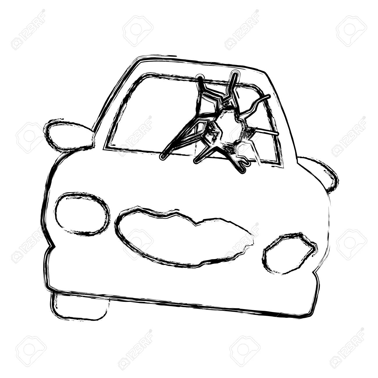 Old Fashioned Car Accident Sketch Adornment - Electrical Diagram ...