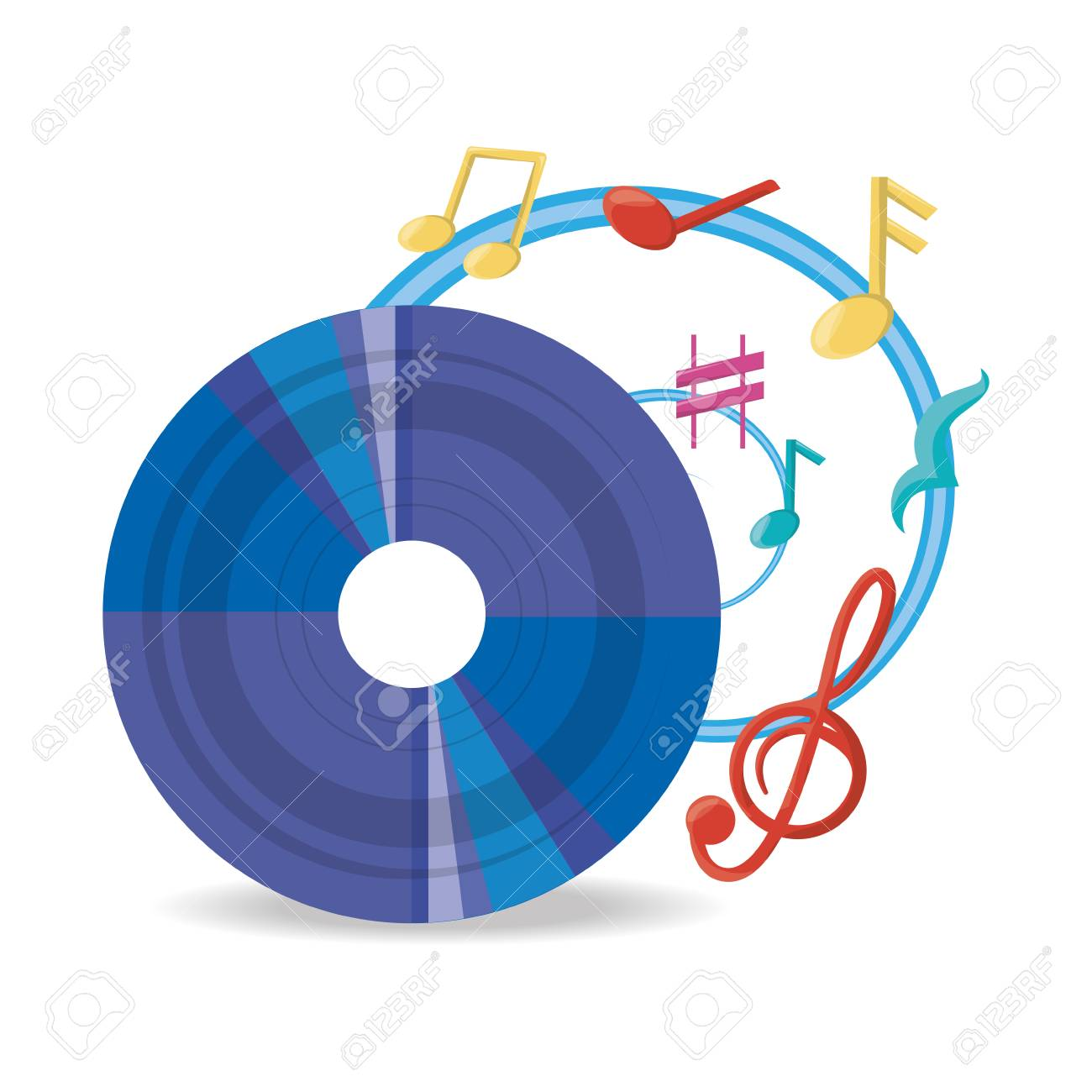 vinyl record with musical notes vector illustration royalty free rh 123rf com White Music Note Vector Music Note Icon