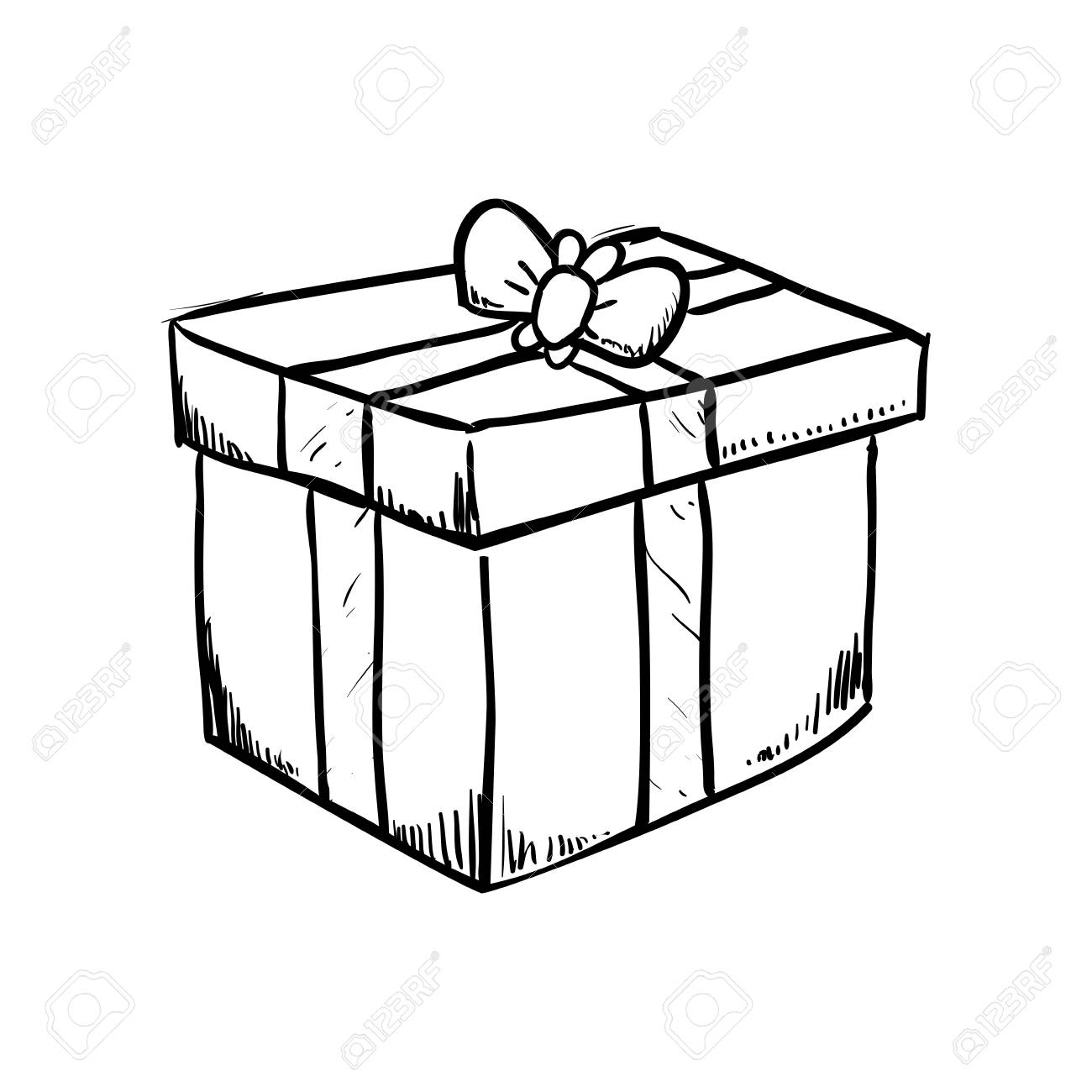 Gift Box Draw Icon Vector Illustration Graphic Design Royalty Free