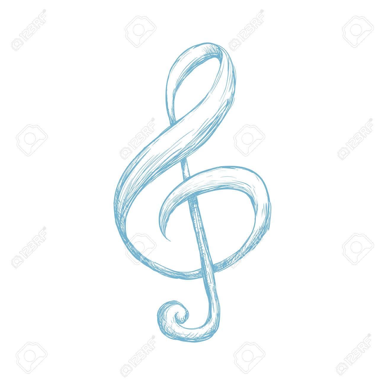 Note De Musique Dessin Icone Illustration Vectorielle Design