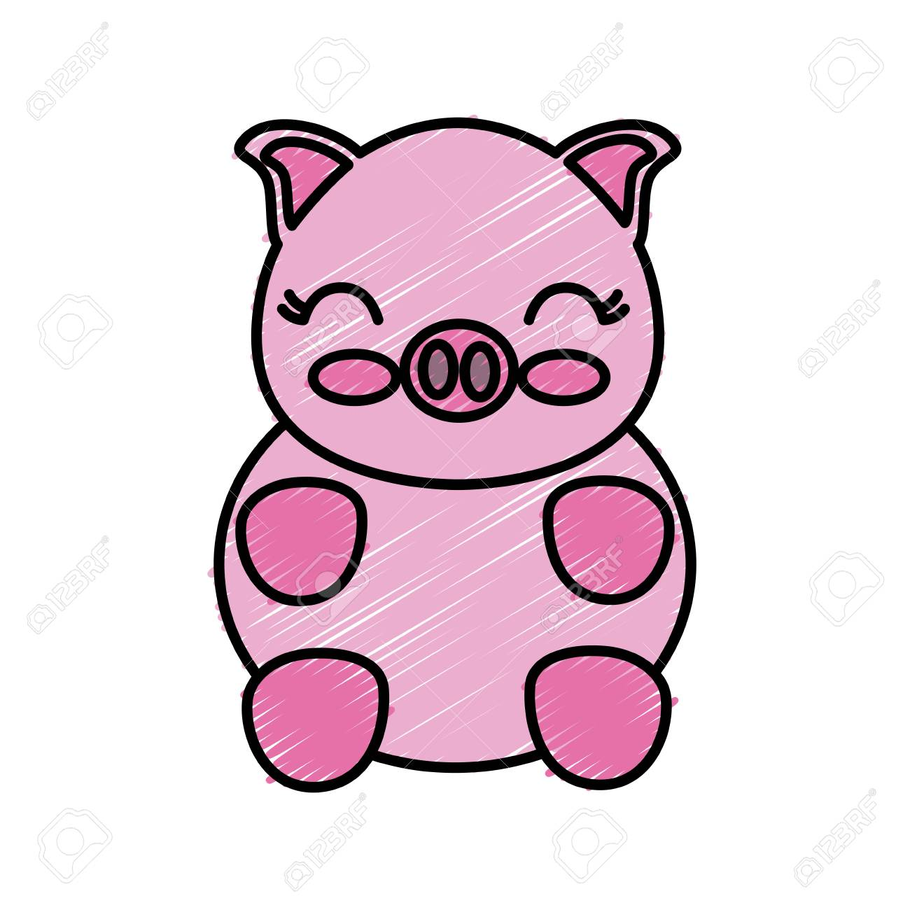 Kawaii Pig Animal Icon Over White Background Vector Illustration