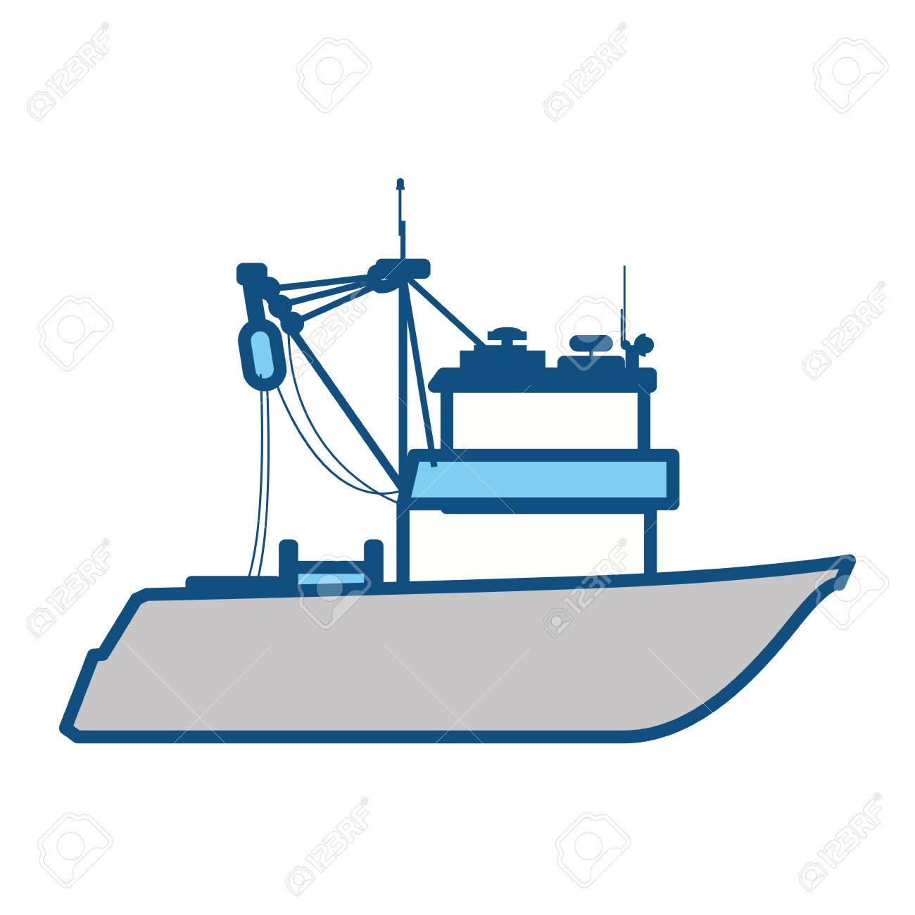 Fishing boat isolated icon vector illustration graphic design