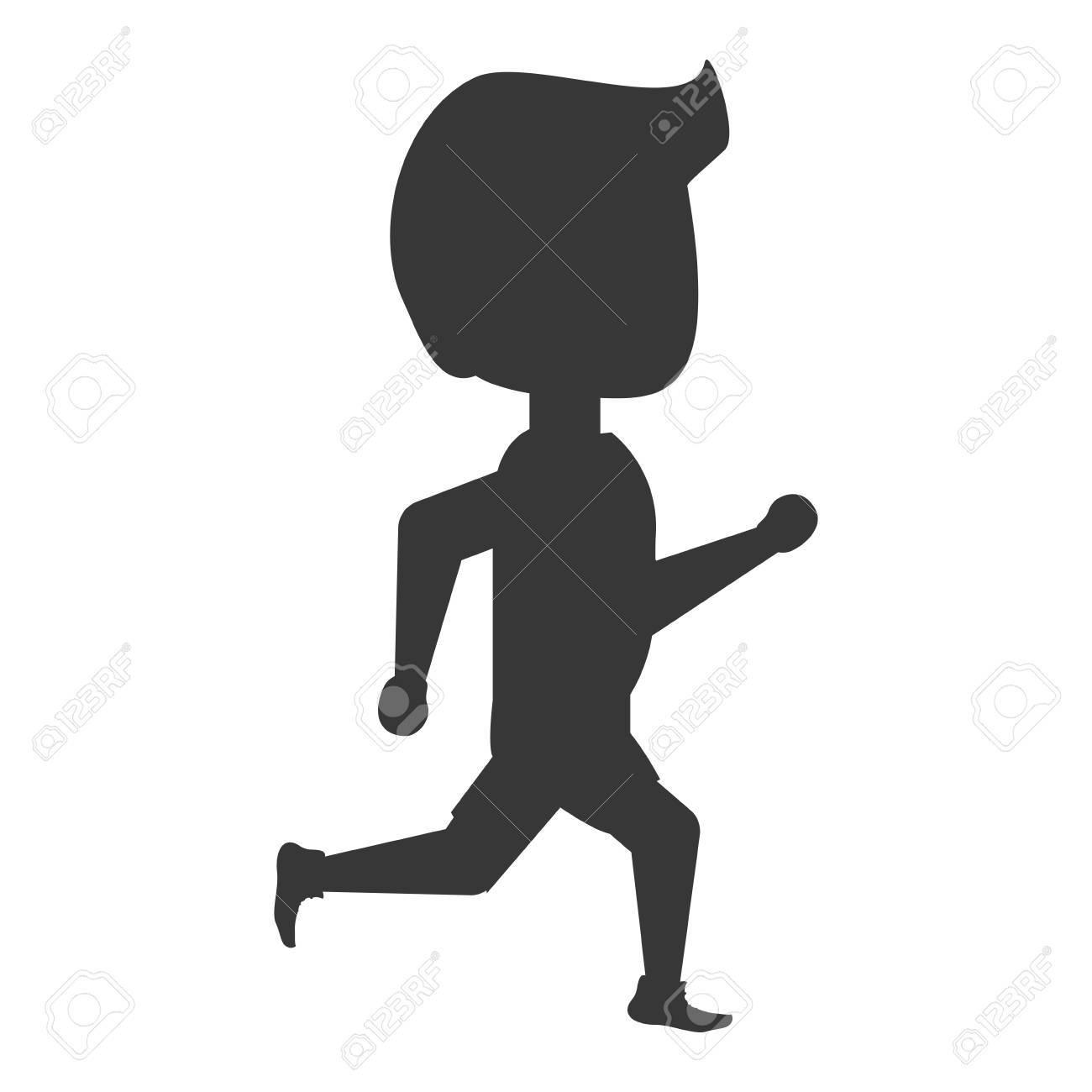漫画のアイコン ベクトル イラスト グラフィック デザインを走っている人