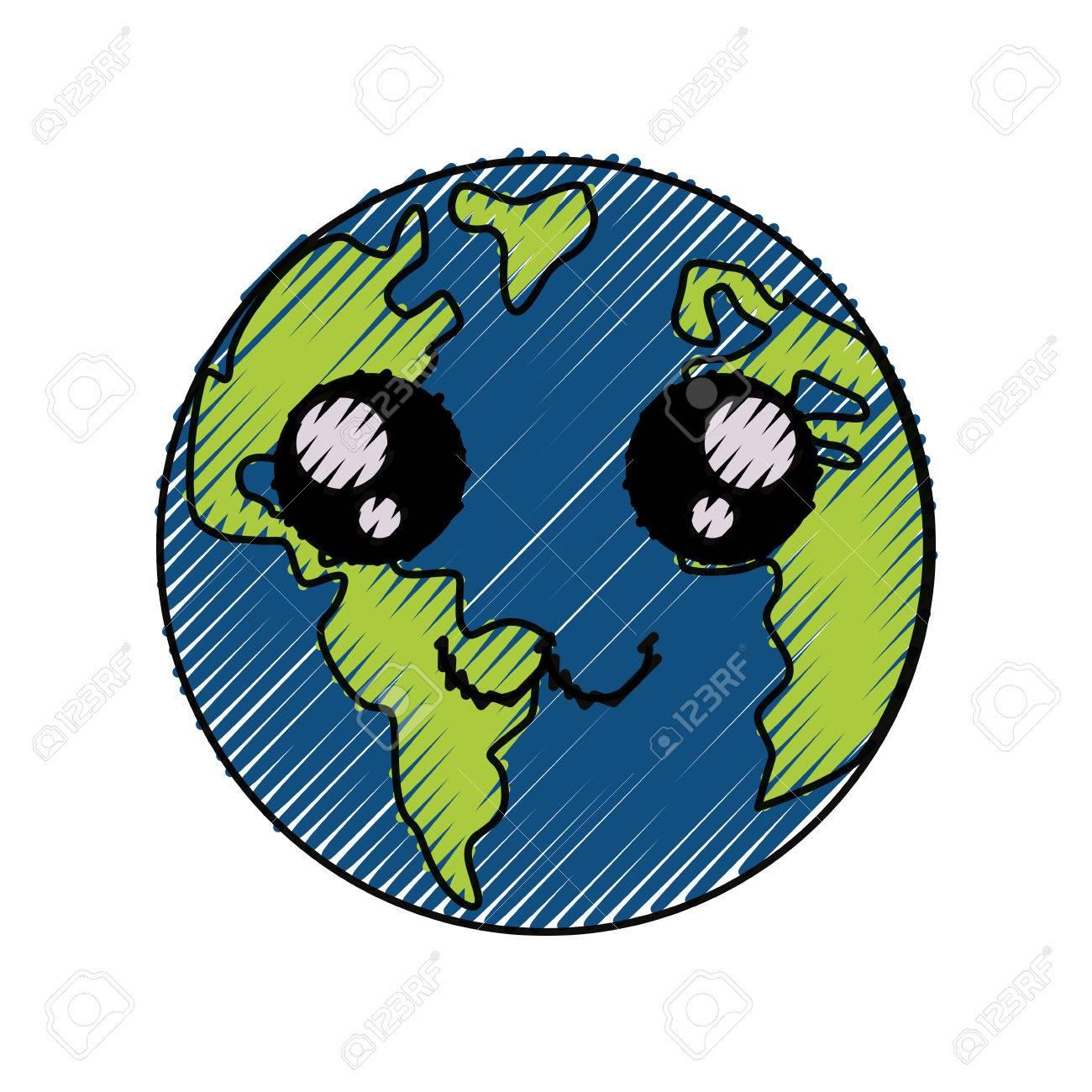 Planeta Tierra Icono De Dibujos Animados Ilustración Vectorial Diseño Gráfico