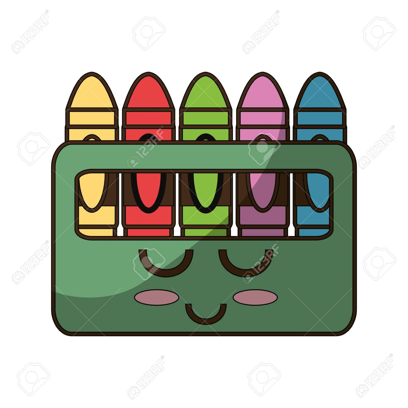 Cute Crayons Cartoon Icon Vector Illustration Graphic Design Royalty - Cartoon-pictures-of-crayons