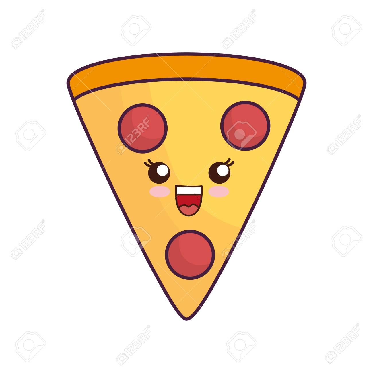 Kawaii Pizza Slice Icon Over White Background Vector Illustration