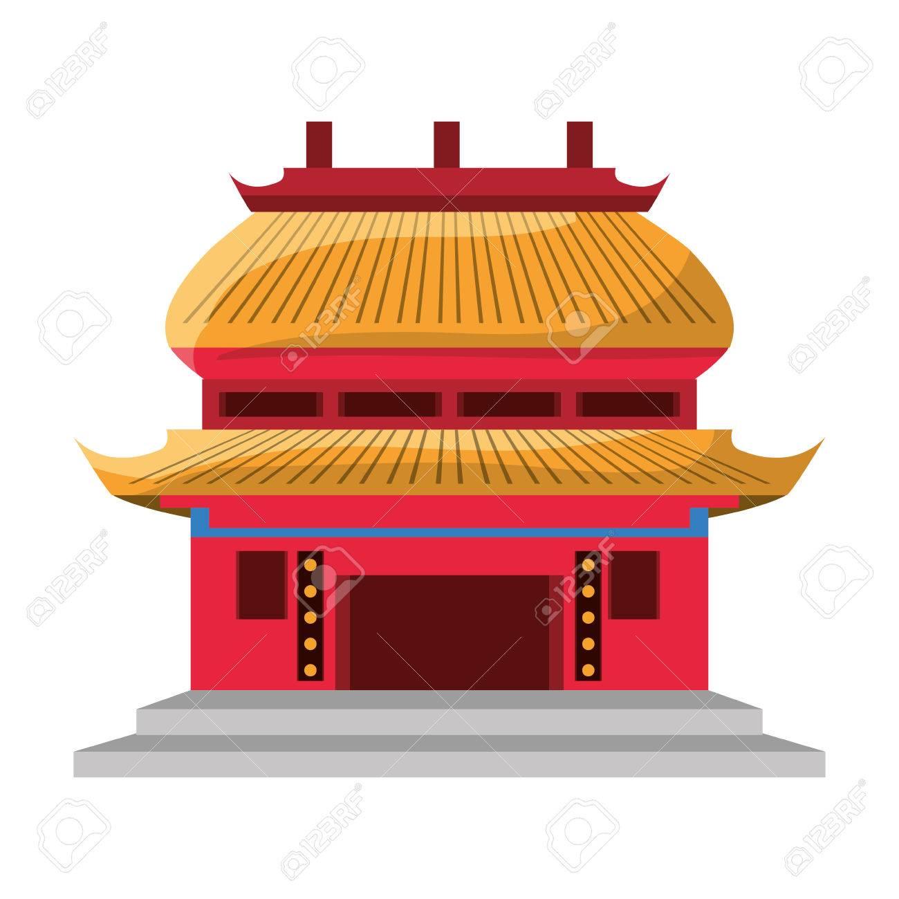 chinese temple symbol icon vector illustration graphic design
