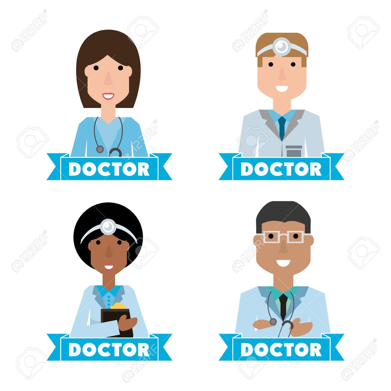 women doctors and nurse with medical tools vector illustration