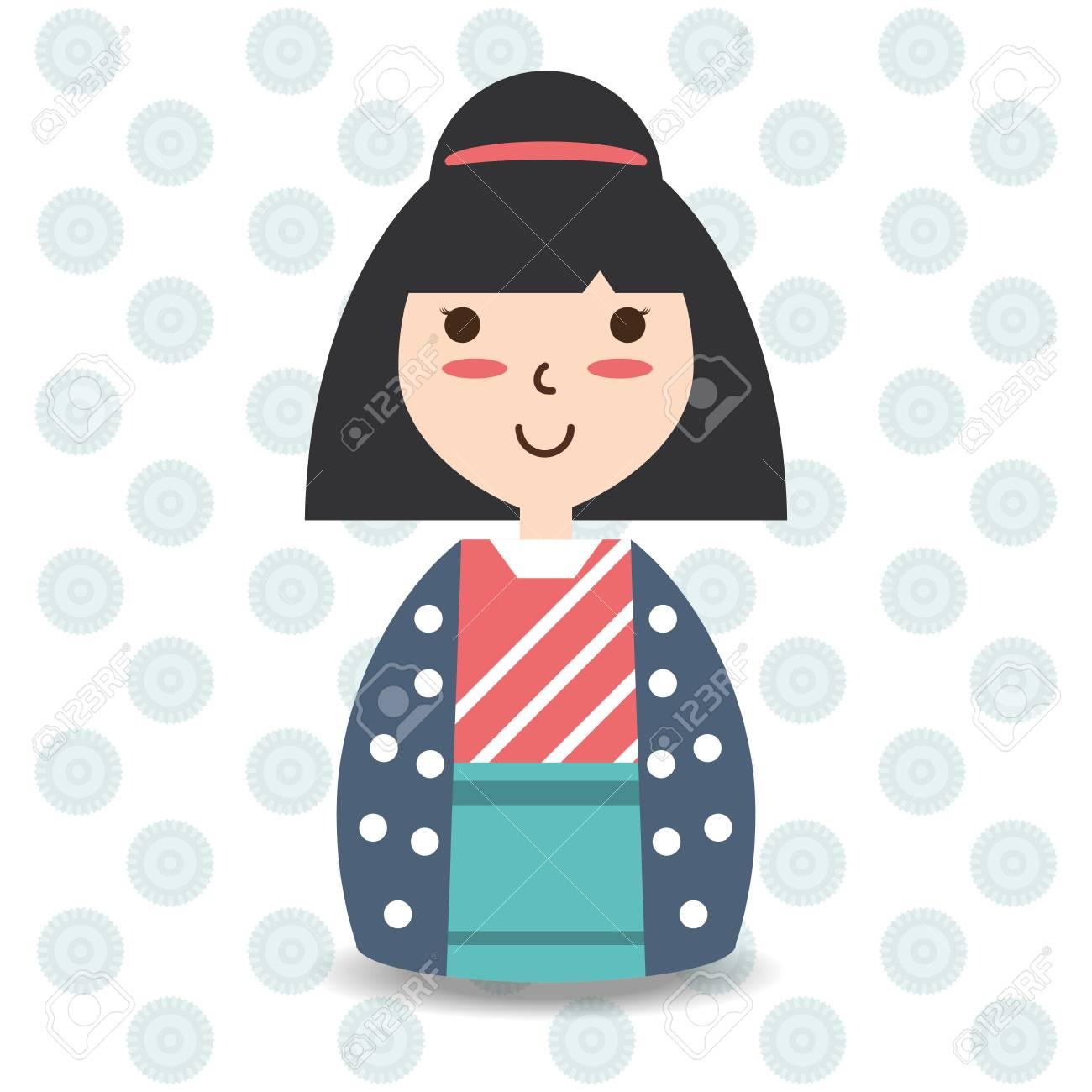 髪型と着物デザイン ベクトル イラスト美容女性のイラスト素材ベクタ