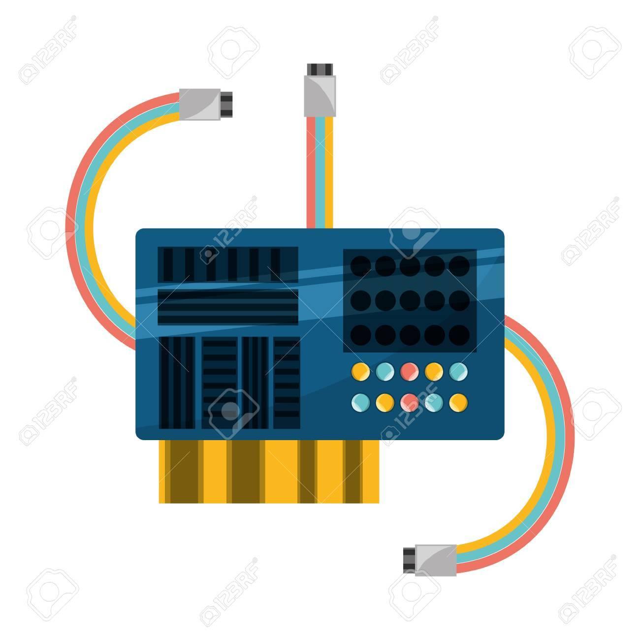 Circuito Integrado : Microchip icono de circuito integrado de ilustración vectorial