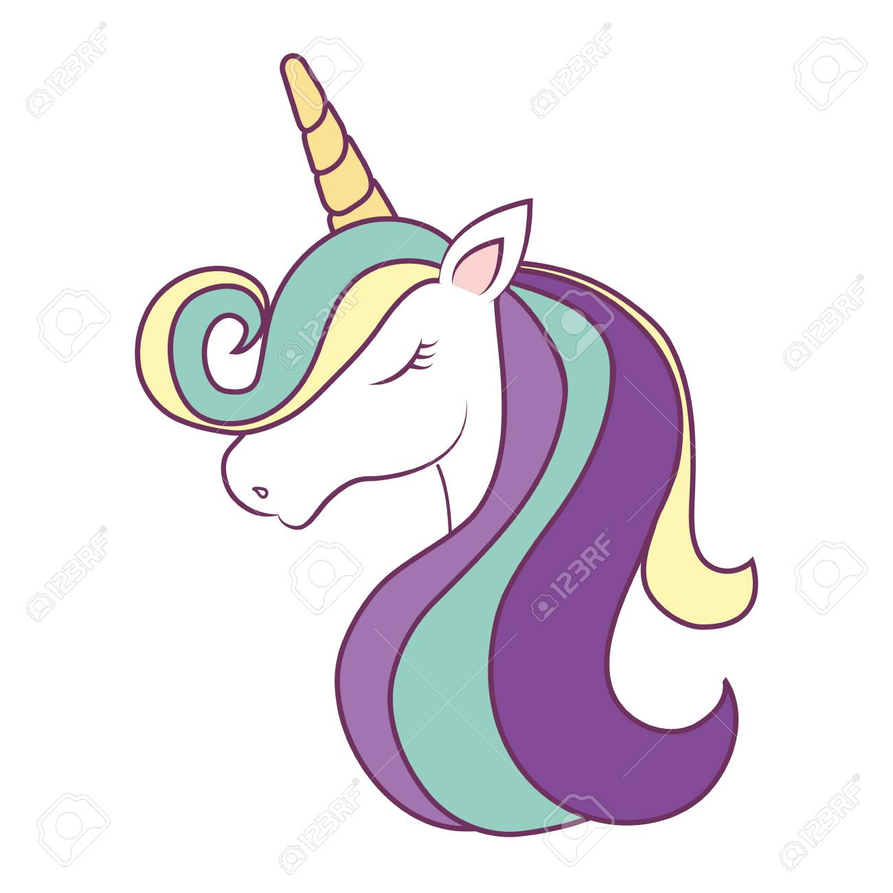 Cartoon Magical Unicorn Icon Over White Background Colorful Design ...