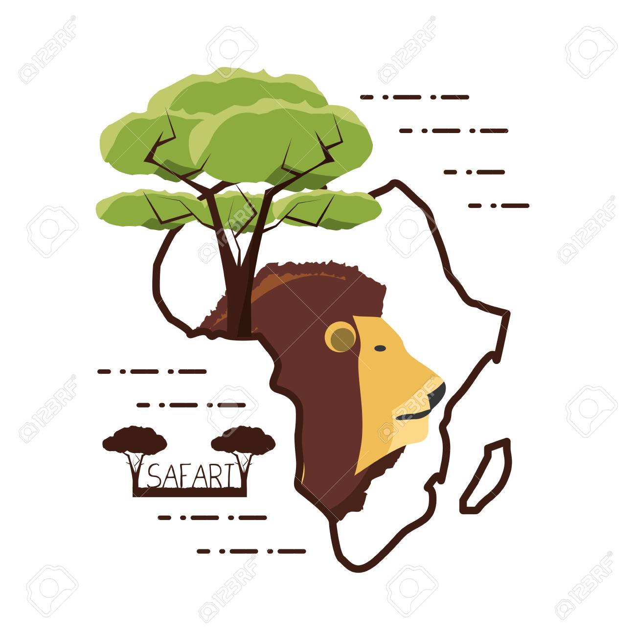 Shape Of Africa Map.Lion And Tree In Africa Map Shape Over White Background Colorful