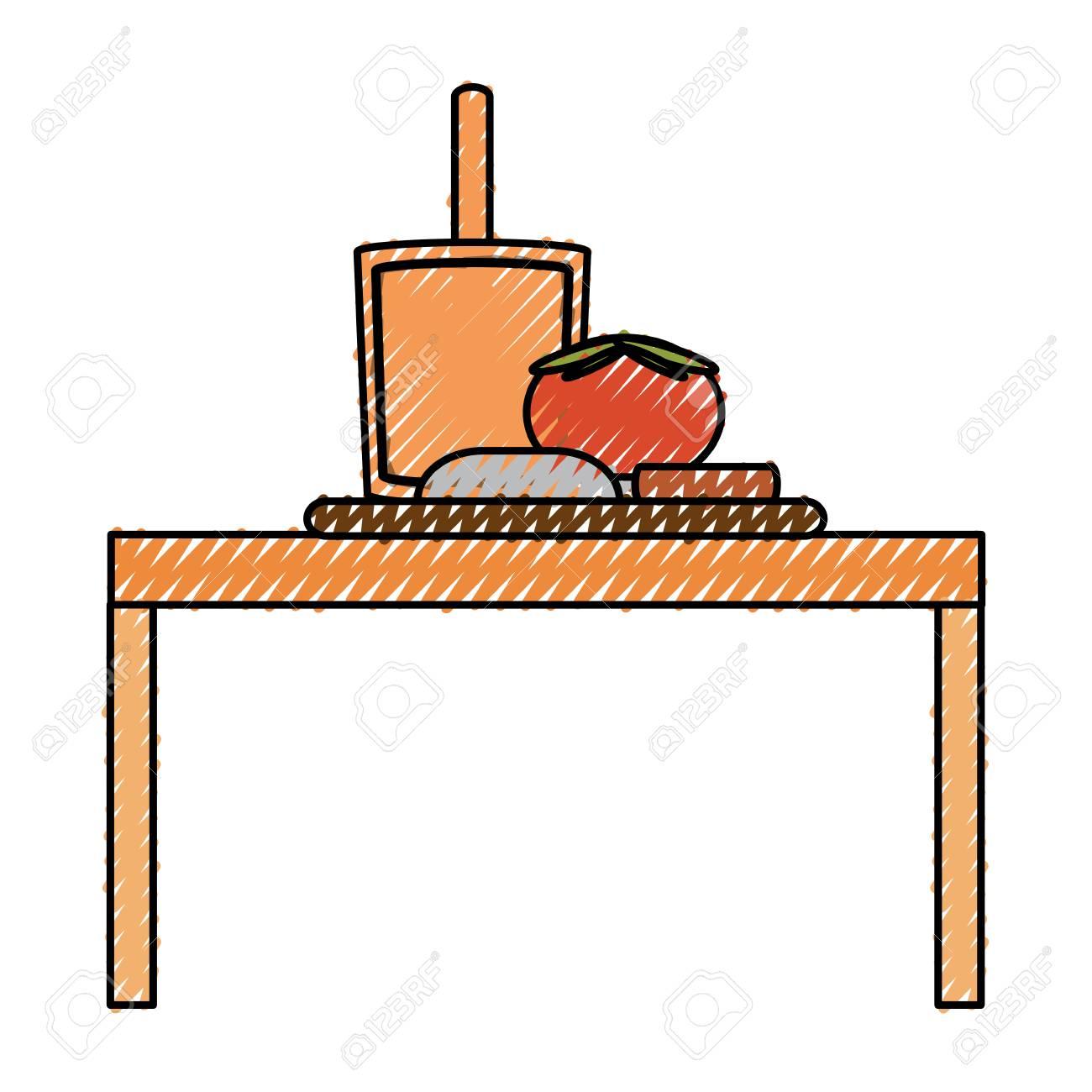 Bunte Küchentisch Doodle über Weißem Hintergrund Vektor-Illustration ...
