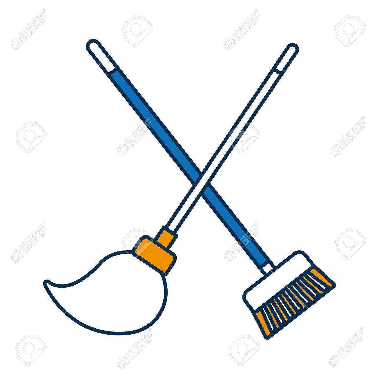 Broom And Mop Icon Over White Background Vector Illustration Royalty