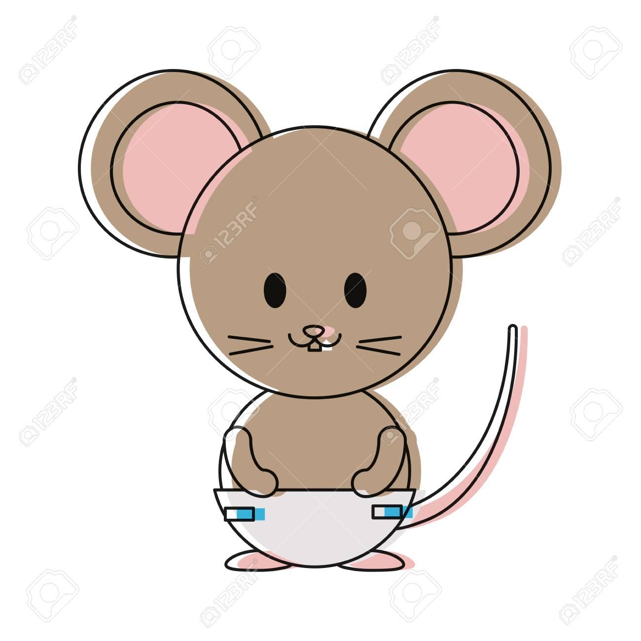 Süße Maus Symbol Auf Weißem Hintergrund Vektor Illustration