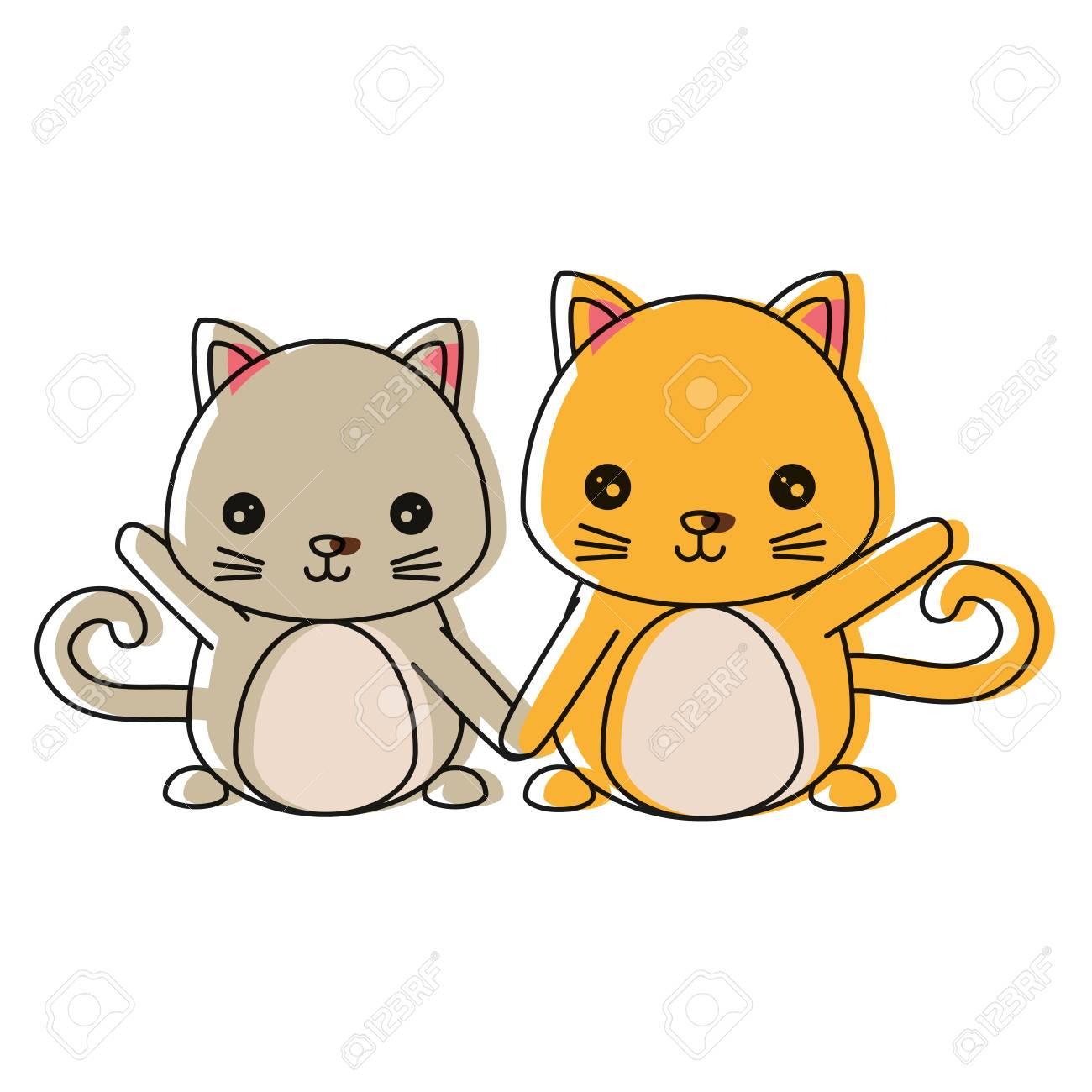 白い背景の上の猫アイコンのかわいいカップル ベクトル イラスト