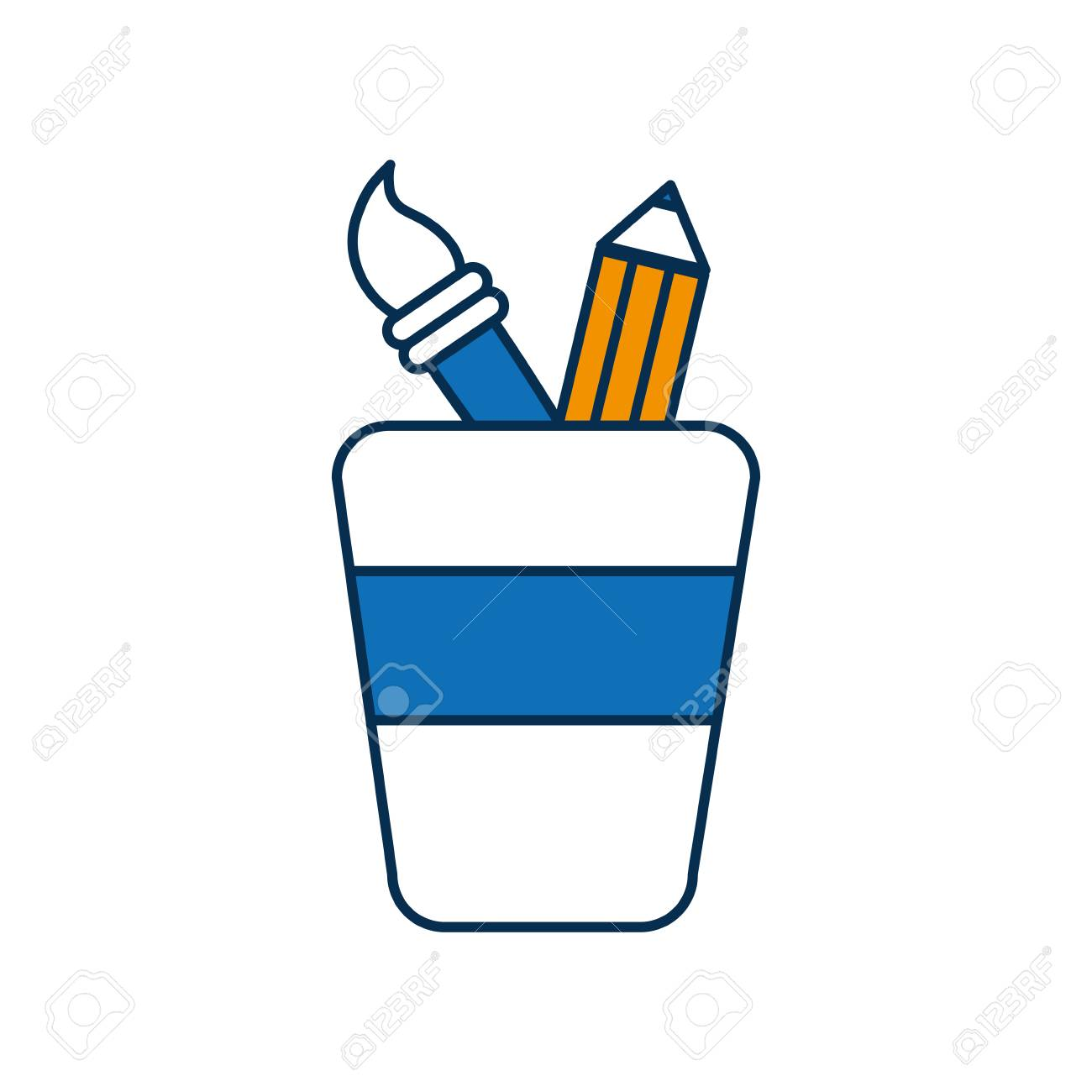 cup with drawing utensils icon over white background vector
