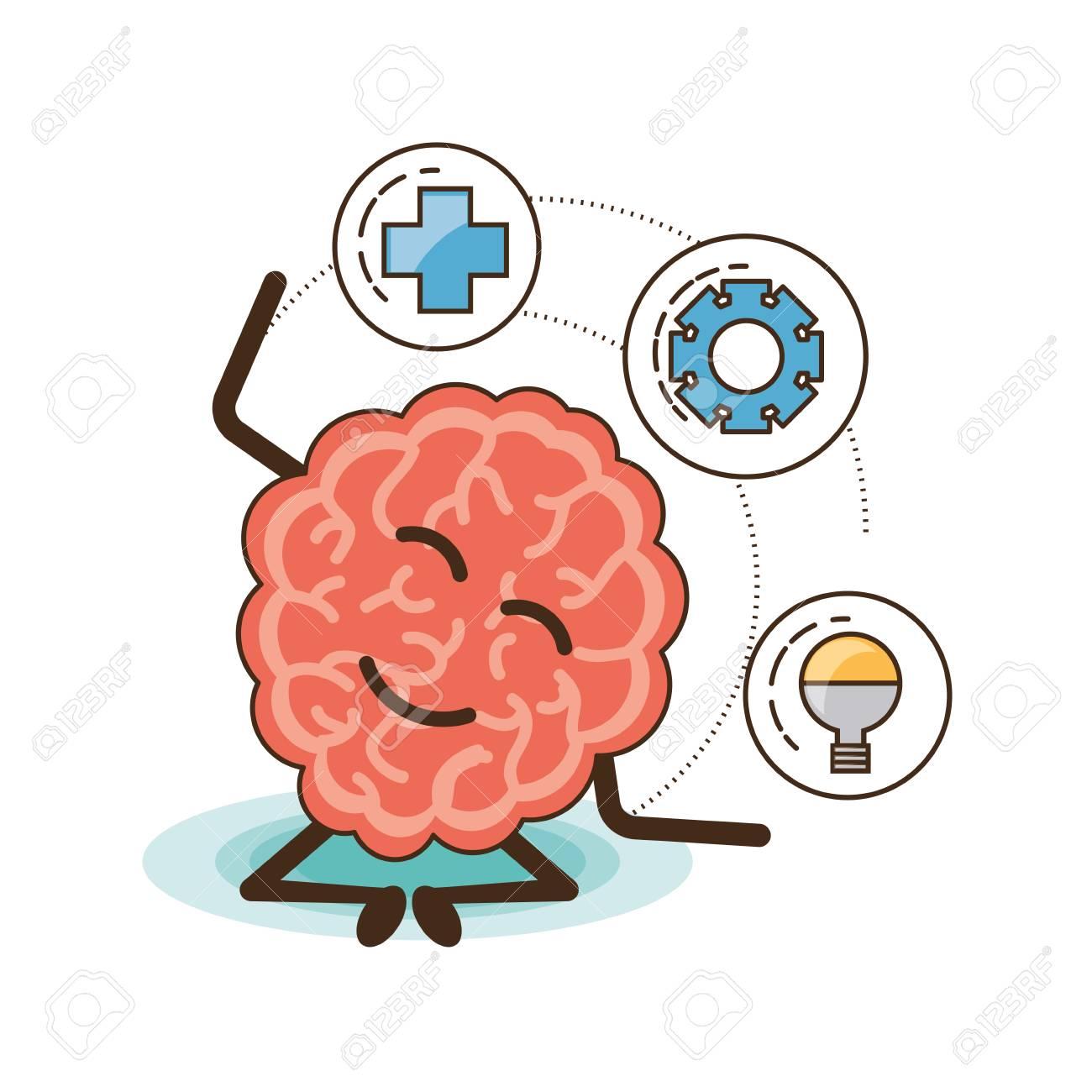 Dibujos Animados De Cerebro De Mente De Salud Mental Y Tema Pacífico Ilustración Vectorial