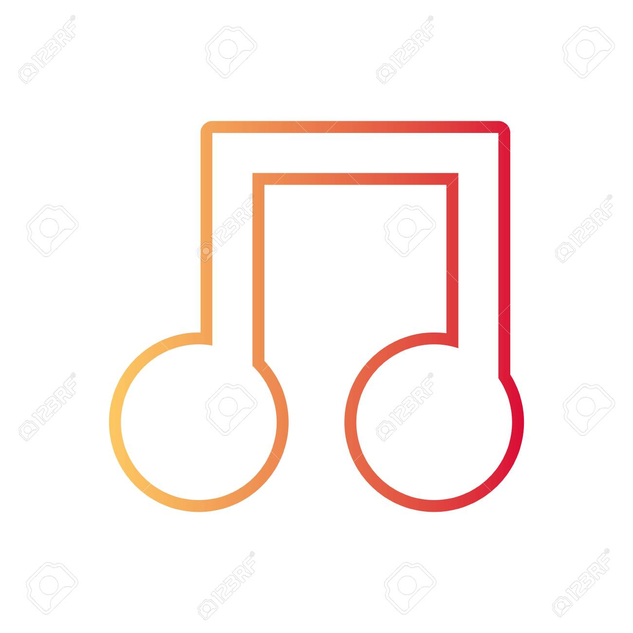 flat line colored musical note over white background vector