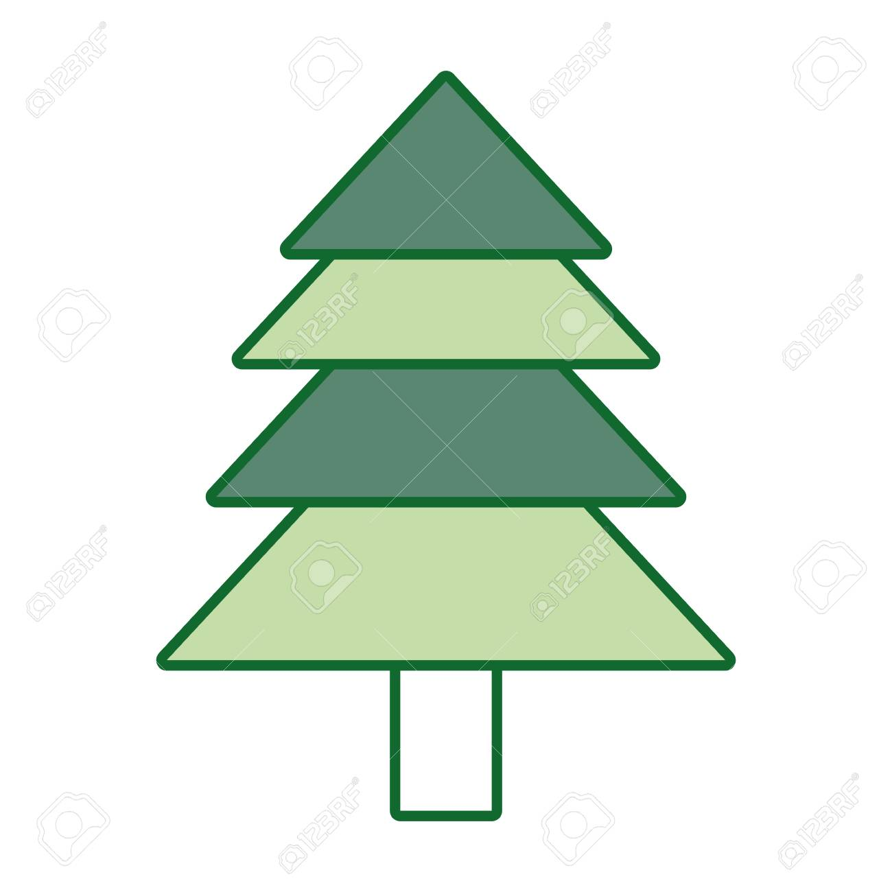 Flat Line Colored Christmas Tree Over White Background Vector ...