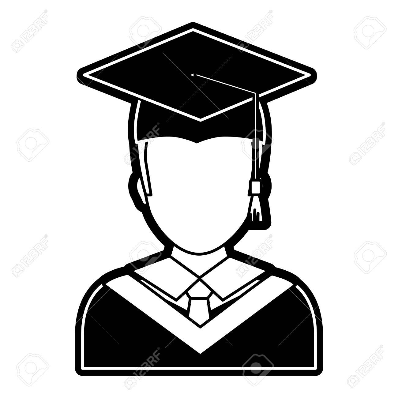 flat line monochromatic man with graduation cap over white