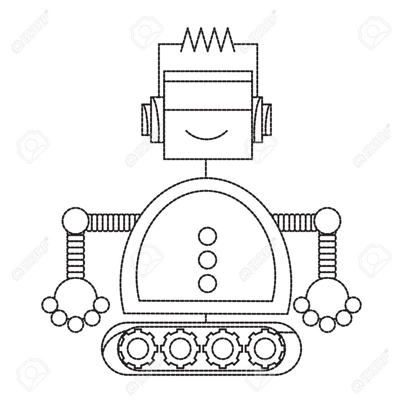 Cartoon Robot Icon Over White Background Black And White Design