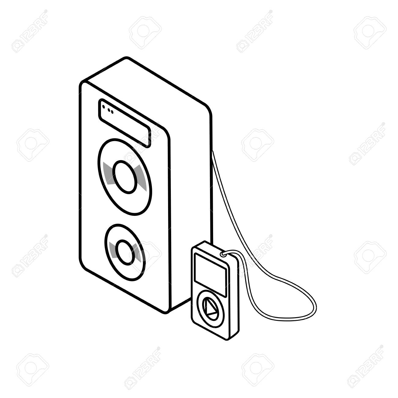 music player device with portable speaker icon over white background