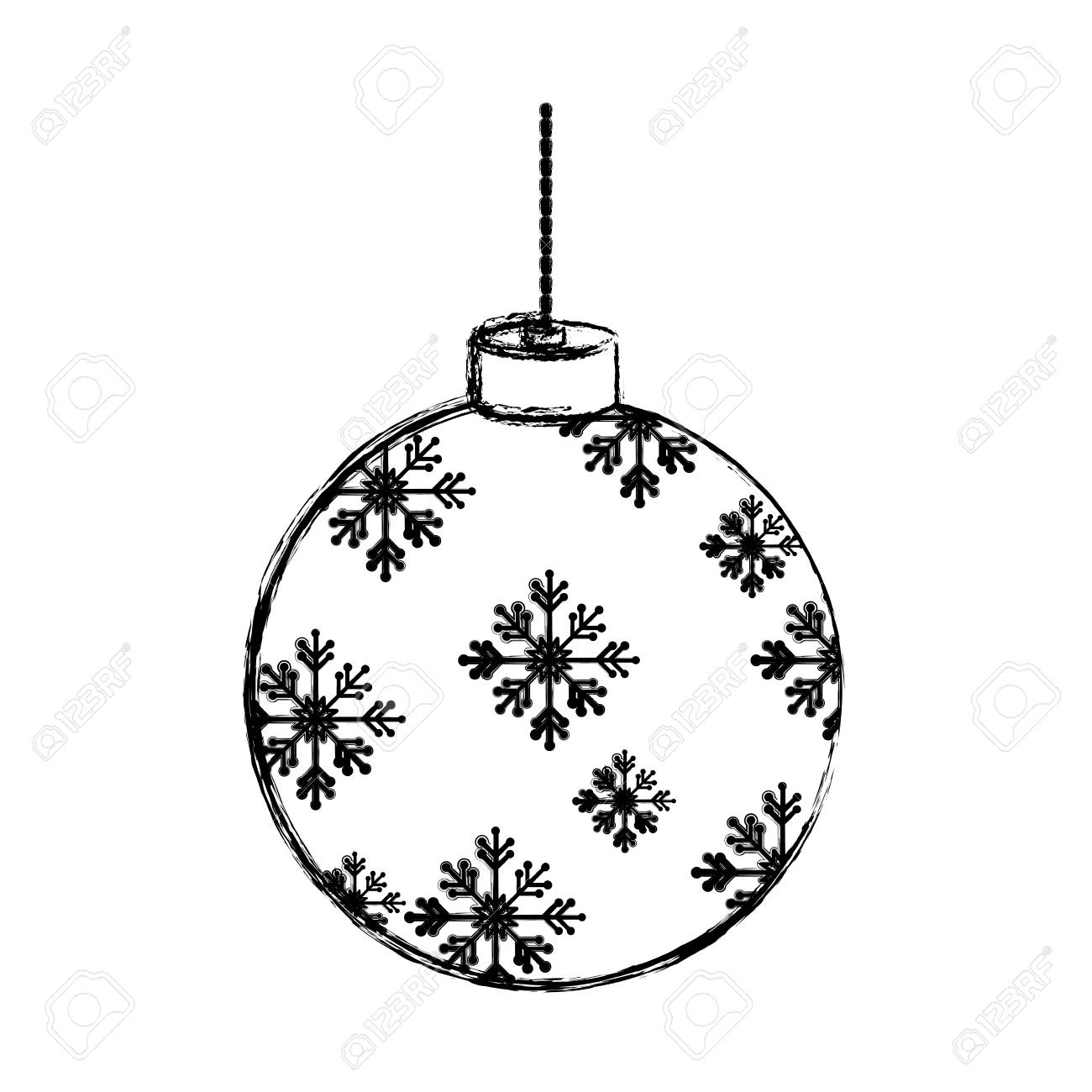 Christmas Balls Clipart Black And White.Flat Line Uncolored Christmas Ball Over White Background Vector