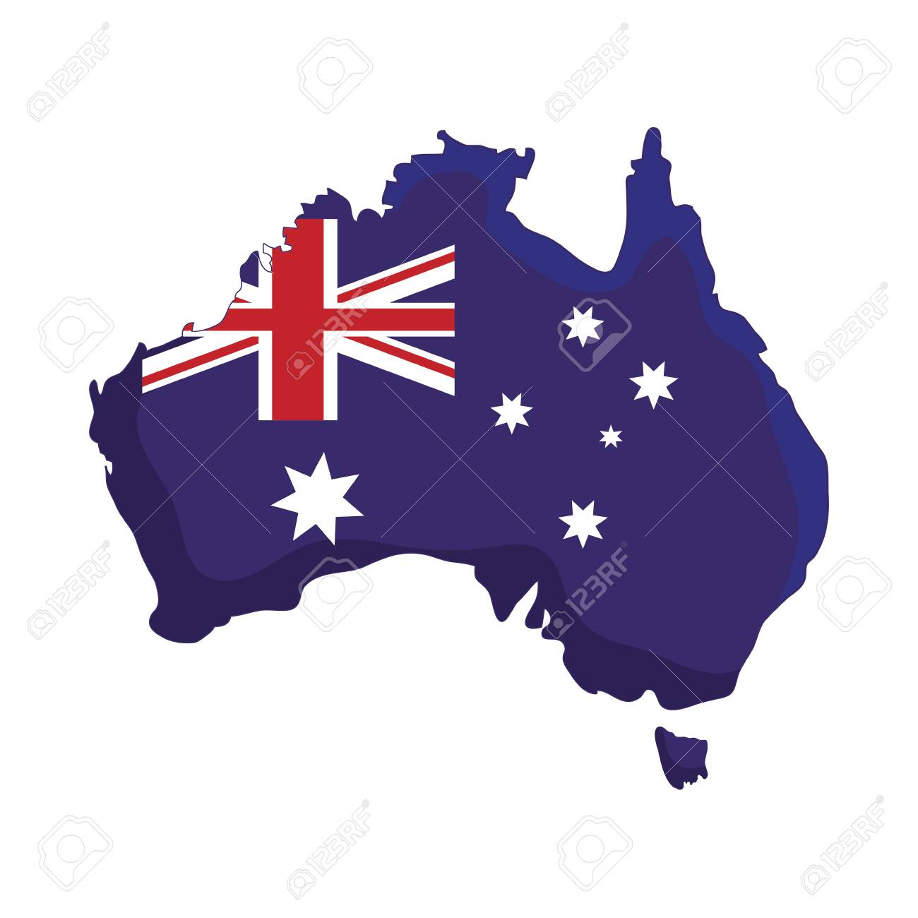 Australia Map Shape.Australia Flag In Country Map Shape Over White Background Colorful