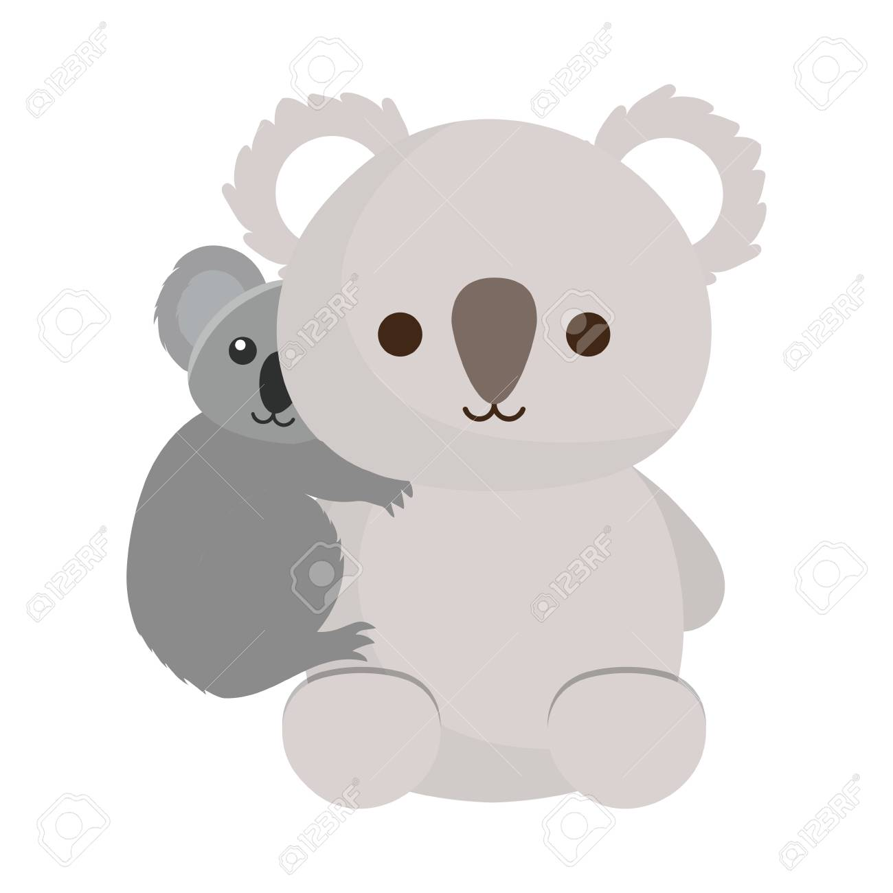 Icone Koala Et Bebe Koala Mignon Sur Fond Blanc Illustration Vectorielle Design Colore