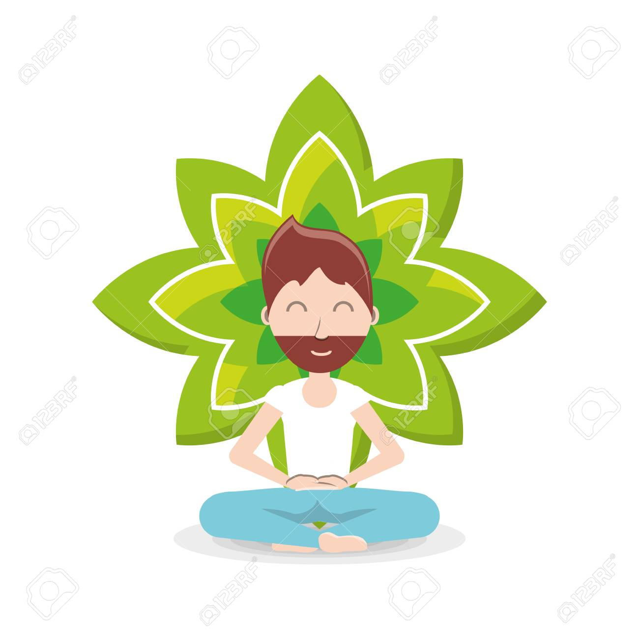 Lotus flower and cartoon man practicing yoga in a lotus pose lotus flower and cartoon man practicing yoga in a lotus pose icon over background colorful design mightylinksfo