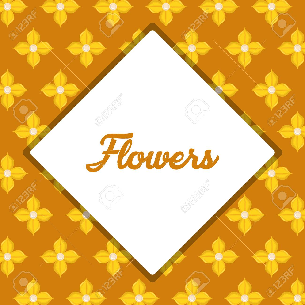 Beautiful Yellow Flowers Background Design With And Rhombus Frame