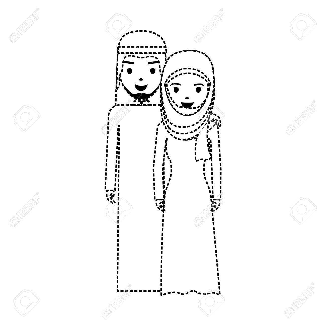 Illustration De Dessin Anime Mignon Couple Arabe Clip Art Libres De