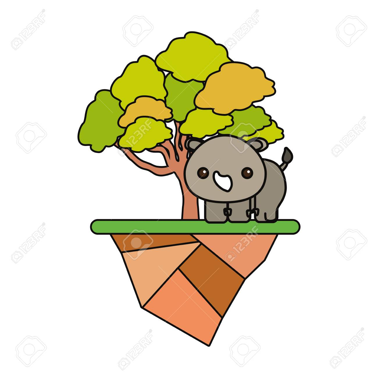 Floating island with trees and cute rhino icon over white illustration