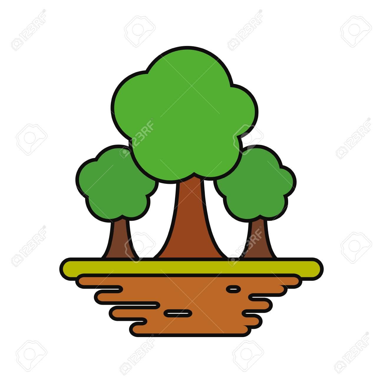 Icono Gráfico De árboles Naturaleza Símbolo Dibujos Animados Vector Ilustración