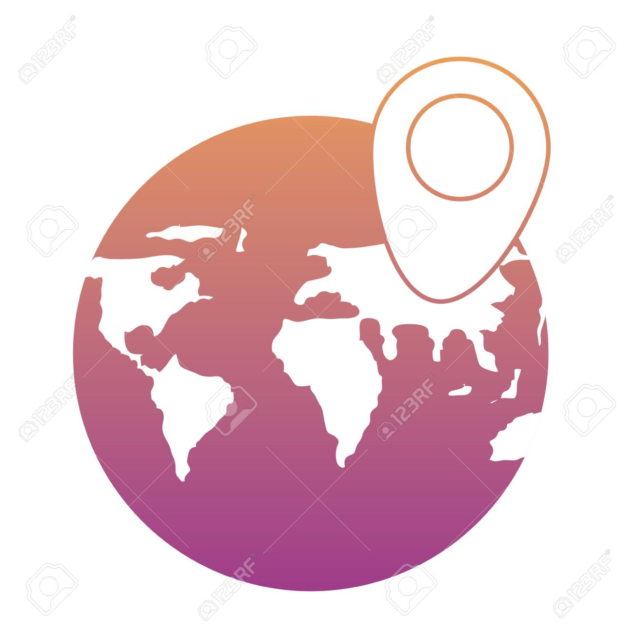 World map sphere with location pin icon over white background vector world map sphere with location pin icon over white background colorful design vector illustration gumiabroncs Choice Image