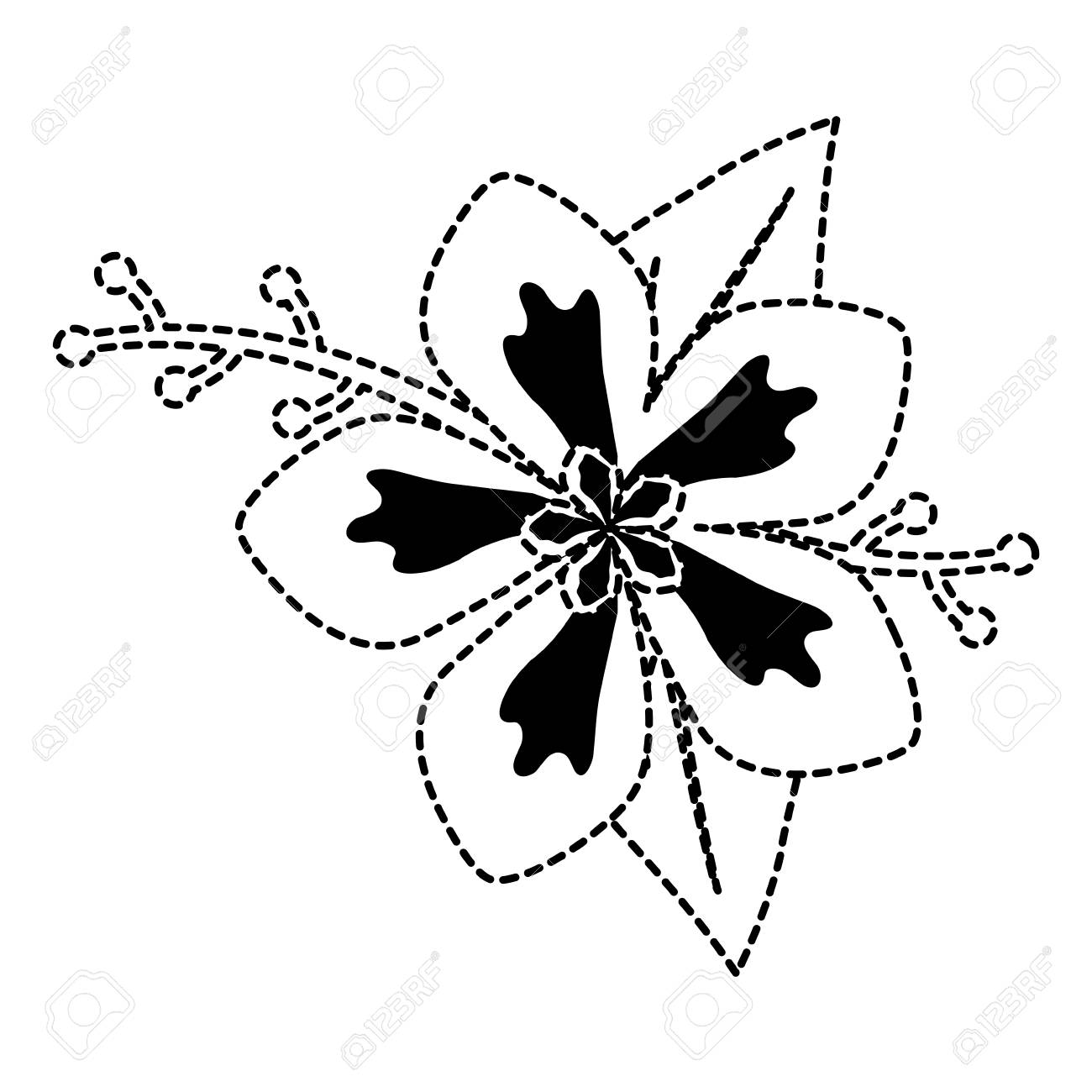 Black And White Flower Sticker Of Five Petals With Two Royalty