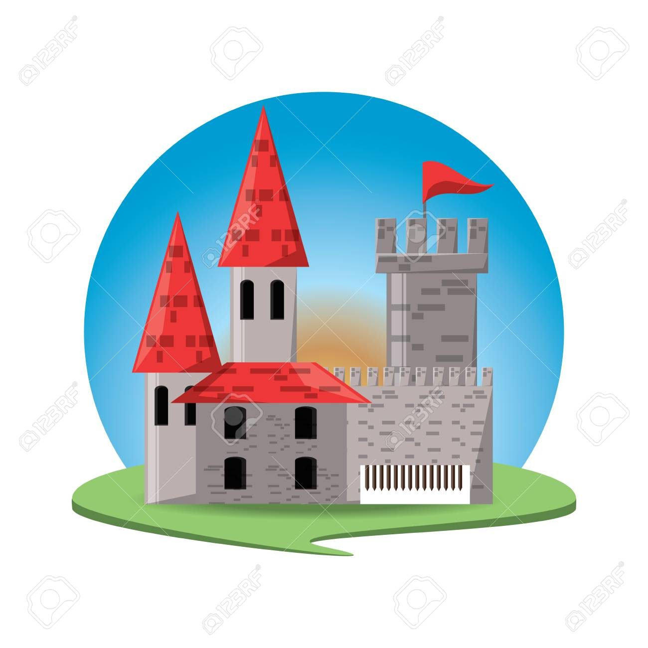 Medieval Castle With Towers And Walls With Flags Guard And