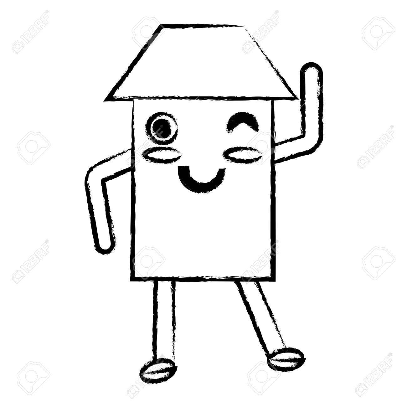 Kawaii Happy House Icon Over White Background Vector Illustration