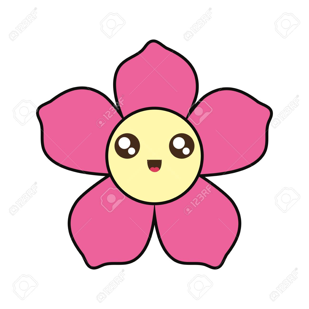 kawaii pink flower with yellow center over white background..