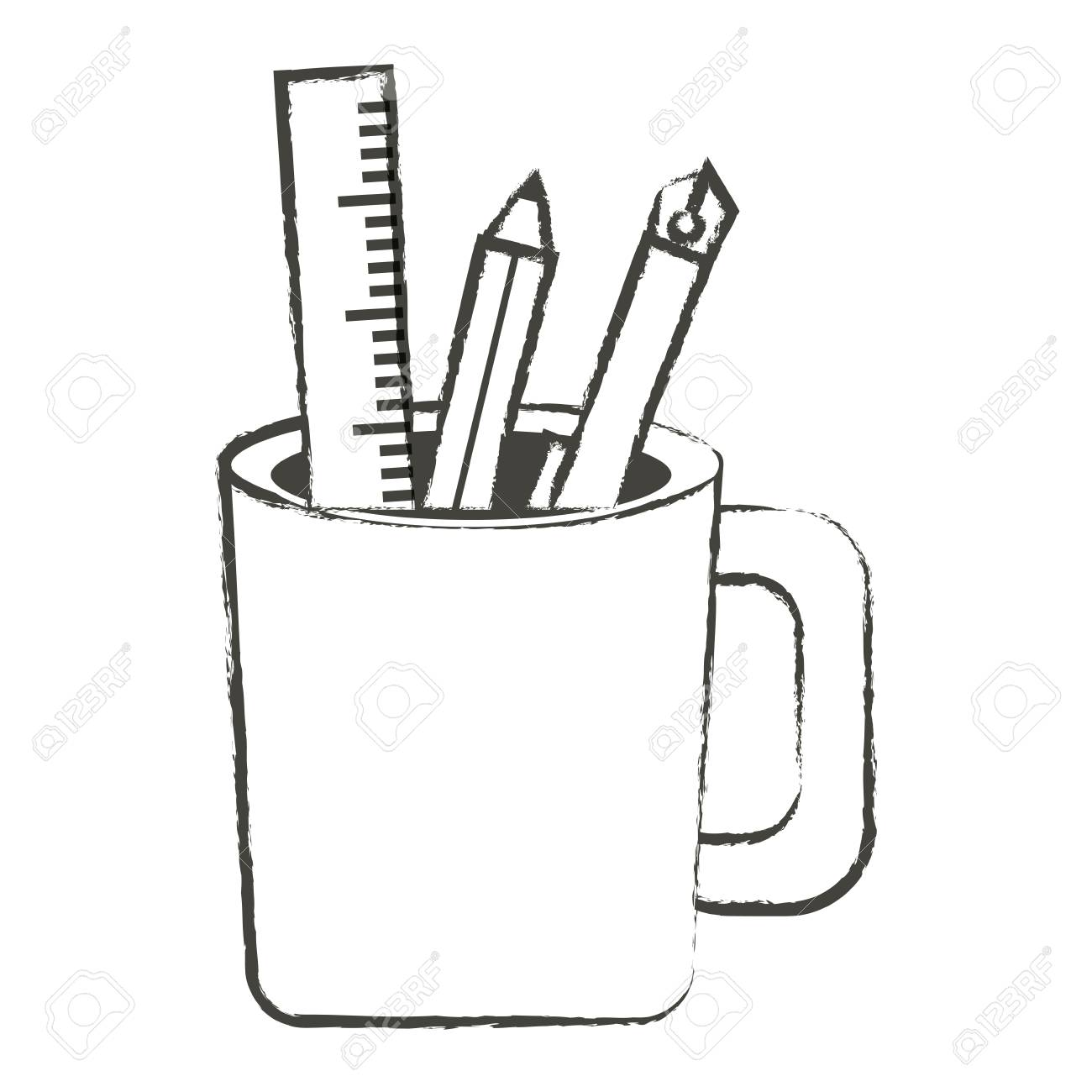 Sketch of pencil cup holder with utensils icon over white background vector illustration stock vector